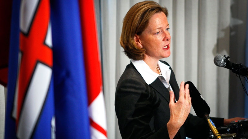 Newly-elected Alberta Conservative leader and Alberta Premier Alison Redford holds a news conference in Edmonton, Alta., Sunday, Oct. 2, 2011. (Jeff McIntosh / THE CANADIAN PRESS)