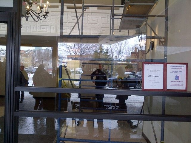 Police have cordoned off a portion of the lobby at a highrise near the Russian Embassy in Ottawa on Friday, March 14, 2014. (Omar Sachedina/CTV News)