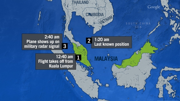Malaysia missing flight timeline (CTV News)