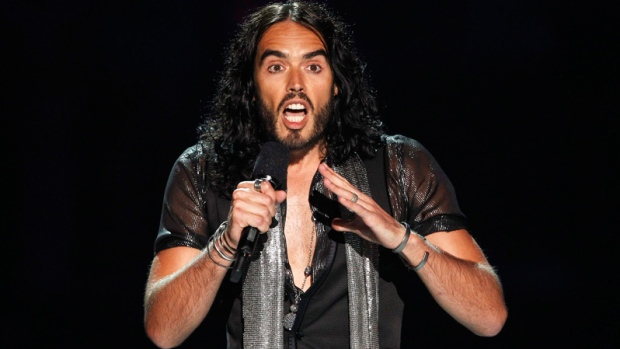 Russell Brand is seen on stage during a tribute for Amy Winehouse at the MTV Video Music Awards in Los Angeles on Sunday, Aug. 28, 2011. (AP / Matt Sayles)