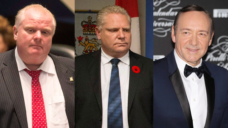Toronto Mayor Rob Ford, Coun. Doug Ford and actor Kevin Spacey are shown in this composite image. (Chris Young / THE CANADIAN PRESS, AP / Antonio Calanni)