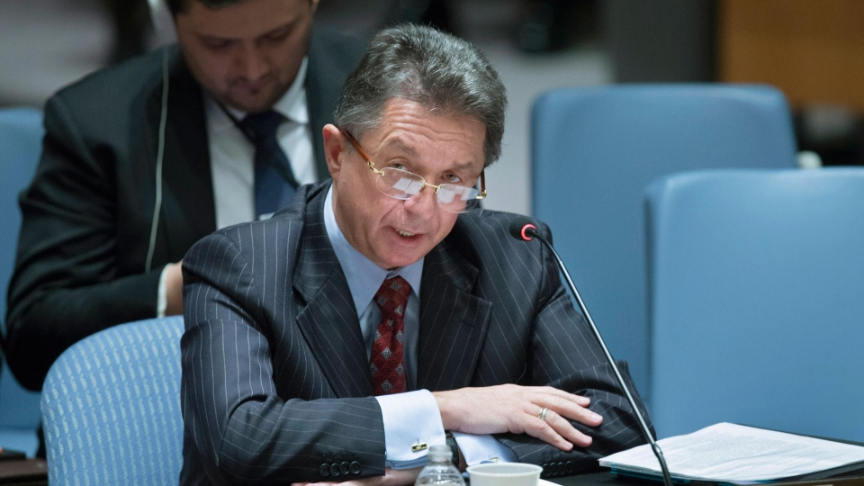 Ukraine's UN Ambassador Yuriy Sergeyev speaks during an UN Security Council meeting on the Ukraine crisis at the United Nations headquarters on Saturday, March 15, 2014. (AP / John Minchillo)