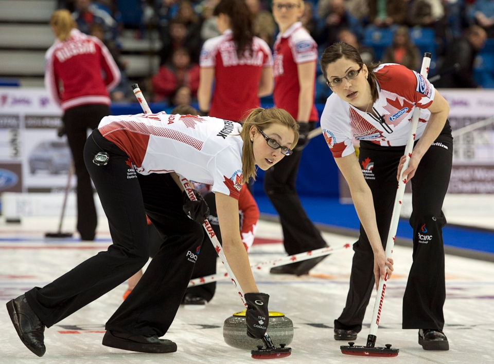 Canada's Alison Kreviazuk, left, and Lisa Weagle sweep a rock as they play Russia at the Ford World Women's Curling Championships in Saint John, N.B. on Saturday, March 15, 2014. Canada won 7-5. THE CANADIAN PRESS/Andrew Vaughan