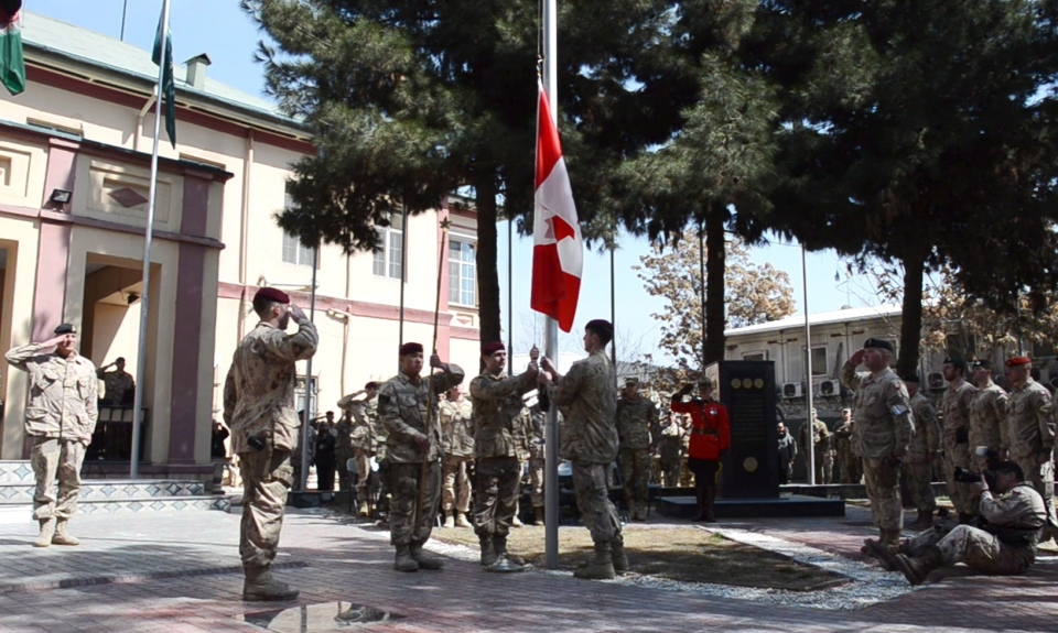 The army has hauled down the Canadian flag for the last time in Kabul, Afghanistan on Wednesday March 12, 2014, bringing an end to 12 years of military involvement in a campaign that cost the lives of 158 soldiers. (Murray Brewster / THE CANADIAN PRESS)
