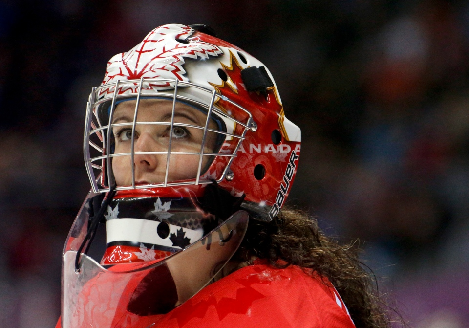 goalkeeper Shannon Szabados of Canada (1) looks up at the scoreboard during the third period of the women's gold medal ice hockey game against the USA at the 2014 Winter Olympics, Thursday, Feb. 20, 2014, in Sochi, Russia. (AP / Mark Humphrey)