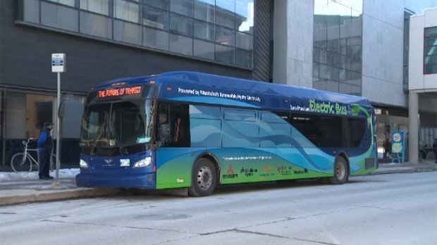 A battery-electric shuttle bus currently takes Manitoba Hydro employees from their Taylor Avenue office to downtown.