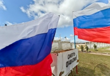 Russian flags at military base Perevalne, Ukraine