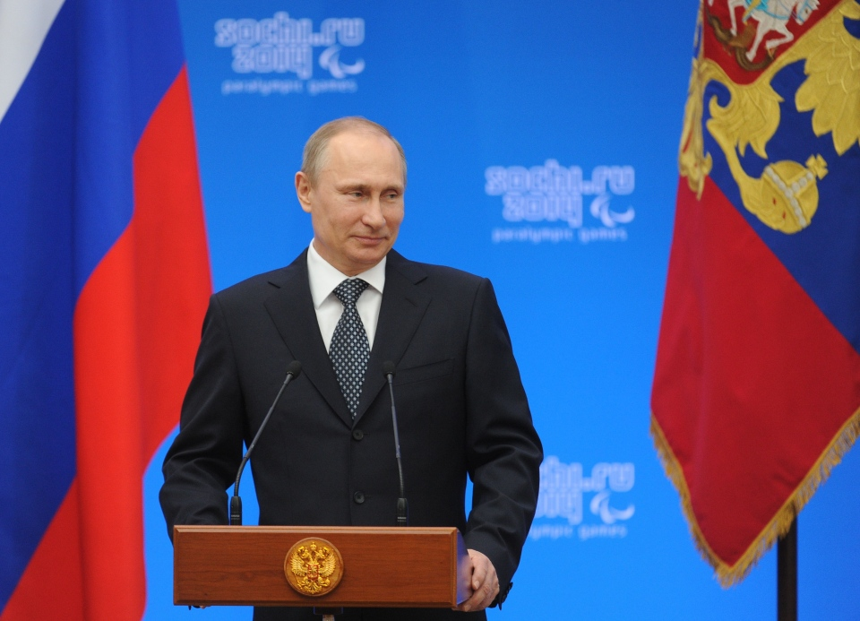 Russian President Vladimir Putin speaks during an awards ceremony in Sochi on Monday, March 17, 2014. (RIA-Novosti / Mikhail Klimentyev / Presidential Press Service)