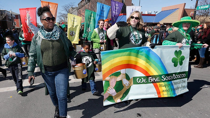 A group standing for diversity marches in the annual St. Patrick's Day parade in the South Boston neighborhood of Boston, Sunday, March 16, 2014. (AP / Michael Dwyer)