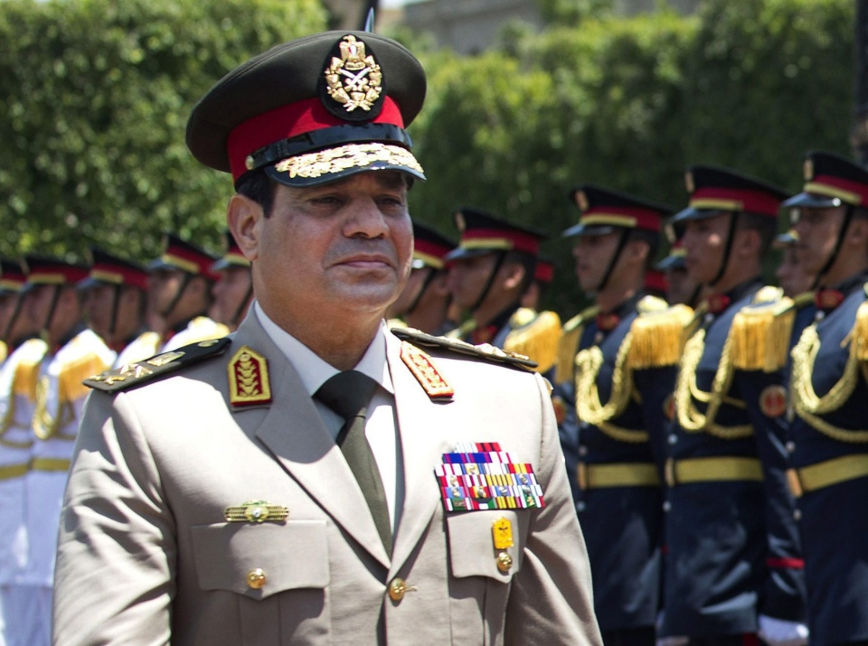 Egyptian Defense Minister Gen. Abdel-Fattah el-Sissi reviews honor guards during an arrival ceremony for his U.S. counterpart at the Ministry of Defense in Cairo, Wednesday, April 24, 2013. (AP / Jim Watson)