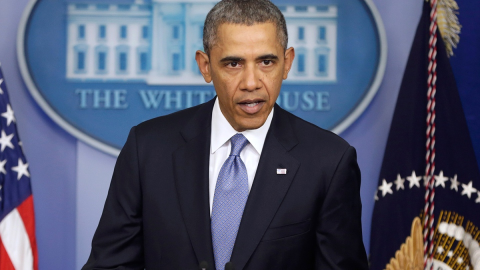 U.S. President Barack Obama speaks about Ukraine in the James Brady Press Briefing Room at the White House in Washington, Monday, March 17, 2014. (AP /  Pablo Martinez Monsivais)