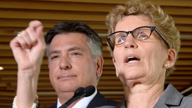 Ontario Premier Wynne and Finance Minister Sousa