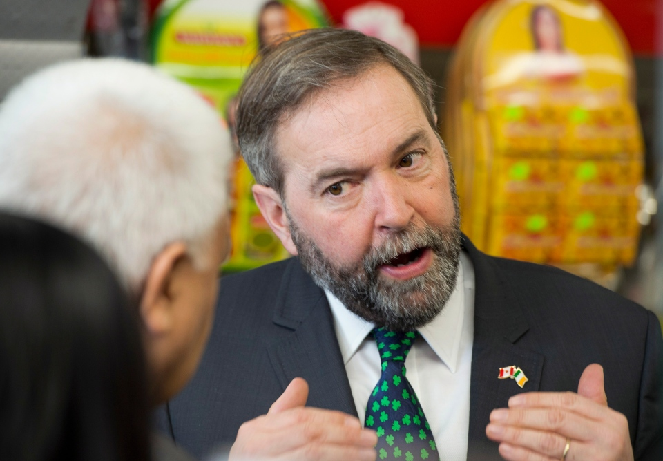 Official Opposition Leader Thomas Mulcair meets with small business owners in Toronto on Monday March 17, 2014. (Frank Gunn / THE CANADIAN PRESS)