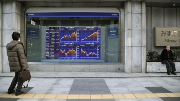 Electronic stock board in Tokyo, Japan