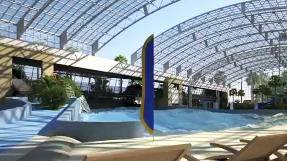 A retractable roof covering part of a proposed water park is shown in a still from video posted on YouTube by marbleLIVE.