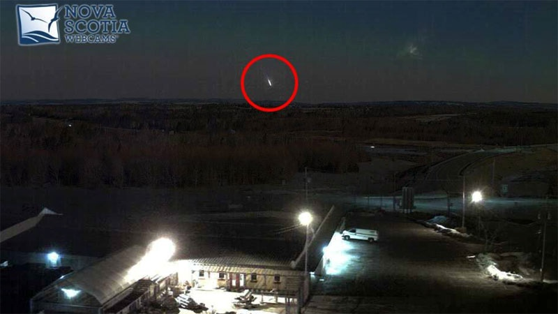 A mysterious bright light was captured on a Nova Scotia webcam near the Masstown Market at 5:04 a.m. Tuesday (Nova Scotia Webcams)