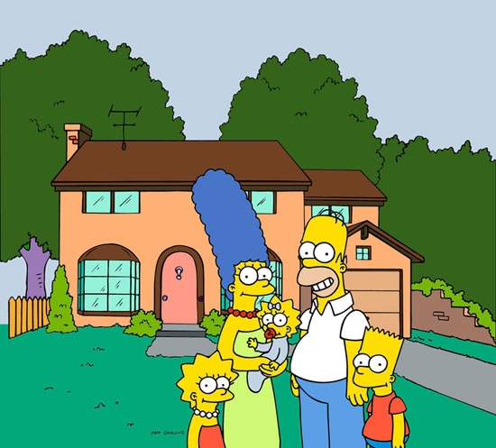 'The Simpsons' family pose in front of their home, from left, Lisa, Marge, Maggie, Homer and Bart Simpson.