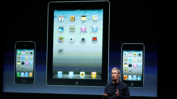 Apple CEO Tim Cook talk about iTouch, iPhone and iPad during announcement at Apple headquarters in Cupertino, Calif., Tuesday, Oct. 4, 2011. (AP / Paul Sakuma)