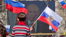 Vladimir Putin's speech seen in Sevastopol, Crimea