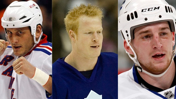 Derek Boogaard, left, Wade Belak, centre and Rick Rypien all died this summer, and Ted Bird says it's the NHL's responsibility to see if their common link played a role in their deaths.