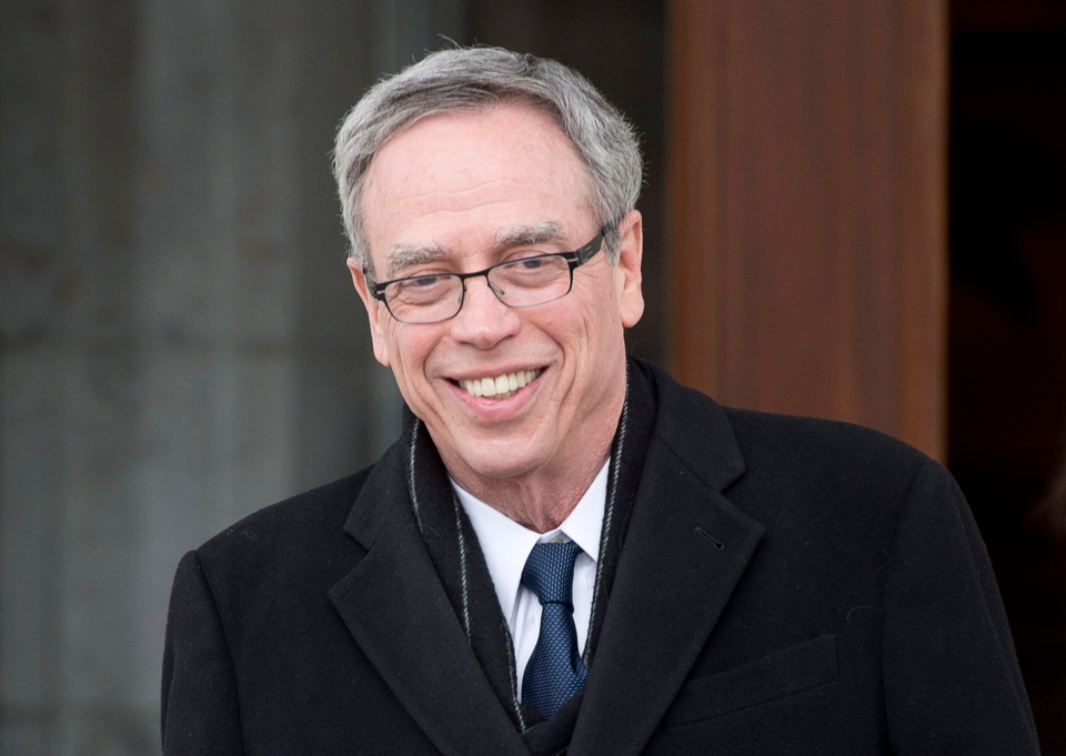 Joe Oliver leaves Rideau Hall after being sworn in as the finance minister Wednesday March 19, 2014 in Ottawa. (Adrian Wyld / THE CANADIAN PRESS)