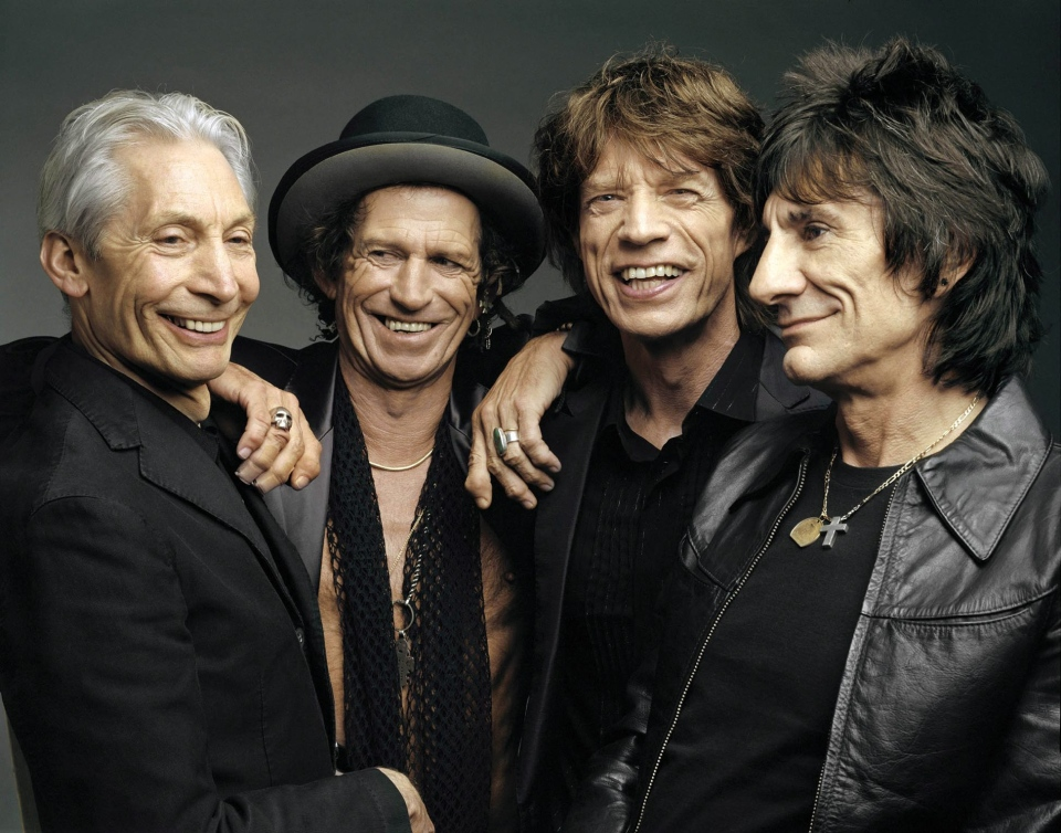 This 2005 file photo, originally supplied by the Rolling Stones, shows members of the group, from left, Charlie Watts, Keith Richards, Mick Jagger, and Ron Wood posing during a photo shoot.  (AP Photo/The Rolling Stones, Mark Seliger-File)