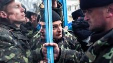 Ukrainian servicemen at Crimea navy headquarters