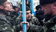 Ukrainian servicemen at Crimea navy headquarters