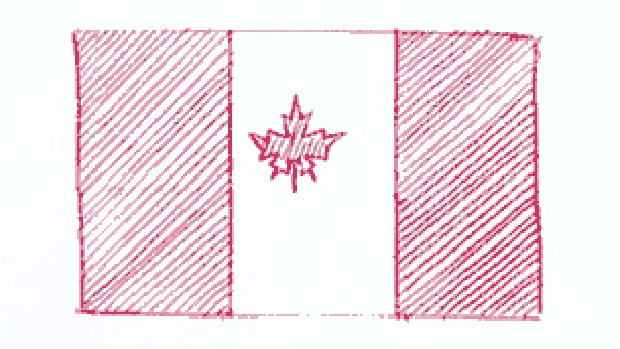 This sketch ultimately became the Canadian flag. (Library and Archives Canada)
