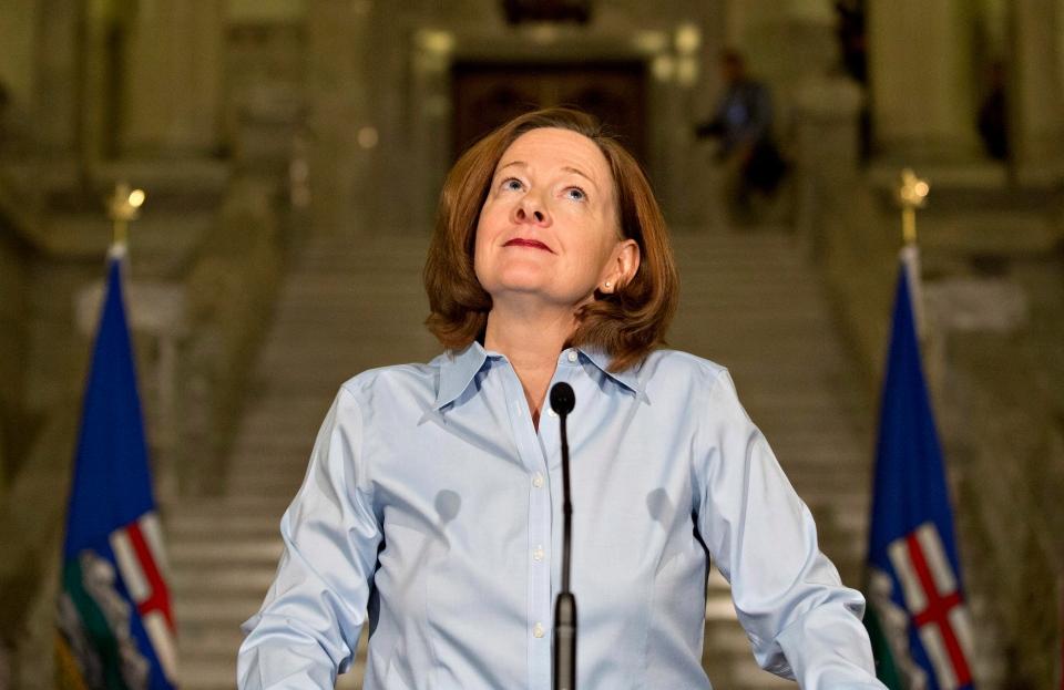 Alberta Premier Alison Redford announces her resignation in Edmonton, Alberta on Wednesday March 19, 2014. (Jason Franson / THE CANADIAN PRESS)