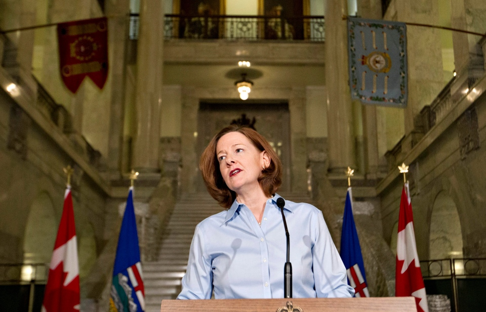Alberta Premier Alison Redford announces her resignation in Edmonton, Alberta on Wednesday March 19, 2014. (Jason Franson / THE CANADIAN PRESS)