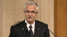 Montreal police chief Marc Parent talks to reporters after one year of being in charge (Oct. 5, 2011)