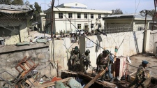Searching police station in Jalalabad, Afghanistan