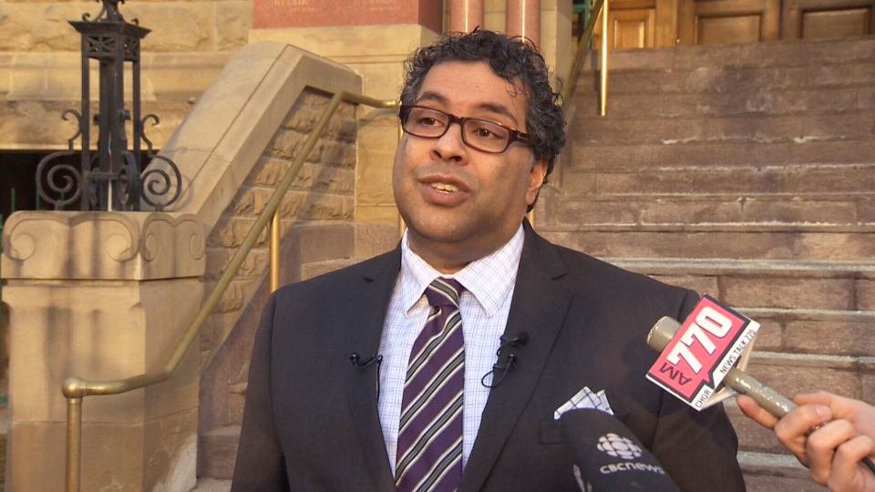 Seen in this 2014 file photo, Calgary Mayor Naheed Nenshi speaks in Calgary. Nenshi is urging Calgarians not to drive for the service that has generated controversy in municipalities across the country.