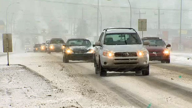 Roads in the city were snow covered by noon and police responded to a number of crashes.