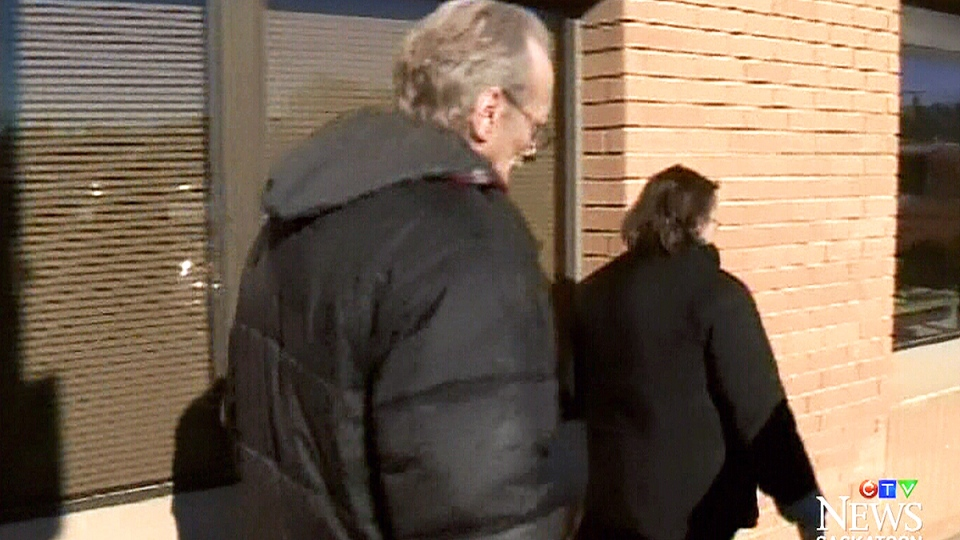 Eugene Krawchuk outside the Saskatoon provincial courthouse. Krawchuk was found guilty of shooting his neighbour's dog without lawful excuse and possessing a firearm without a licence.