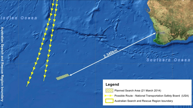 This Friday, March 21, 2014 graphic provided by Australian Maritime Safety Authority (AMSA), shows an area in the southern Indian Ocean where the AMSA is concentrating its search for missing Malaysia Airlines Flight MH370.