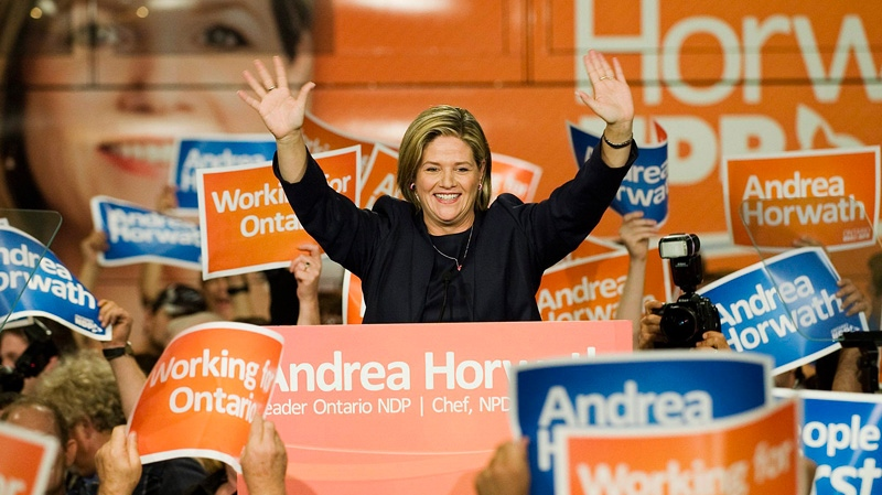 Ontario NDP Leader Andrea Horwath addresses her supporters at the Hamilton Convention Centre after the election results came in on Thursday Oct.  6, 2011. (Aaron Vincent Elkaim  / THE CANADIAN PRESS)