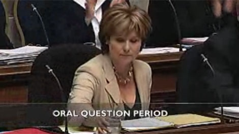 Former NDP MLA David Schreck has questioned whether Liberal Premier Christy Clark dressed appropriately Wednesday in the legislature. Oct. 5, 2011. (Hansard)
