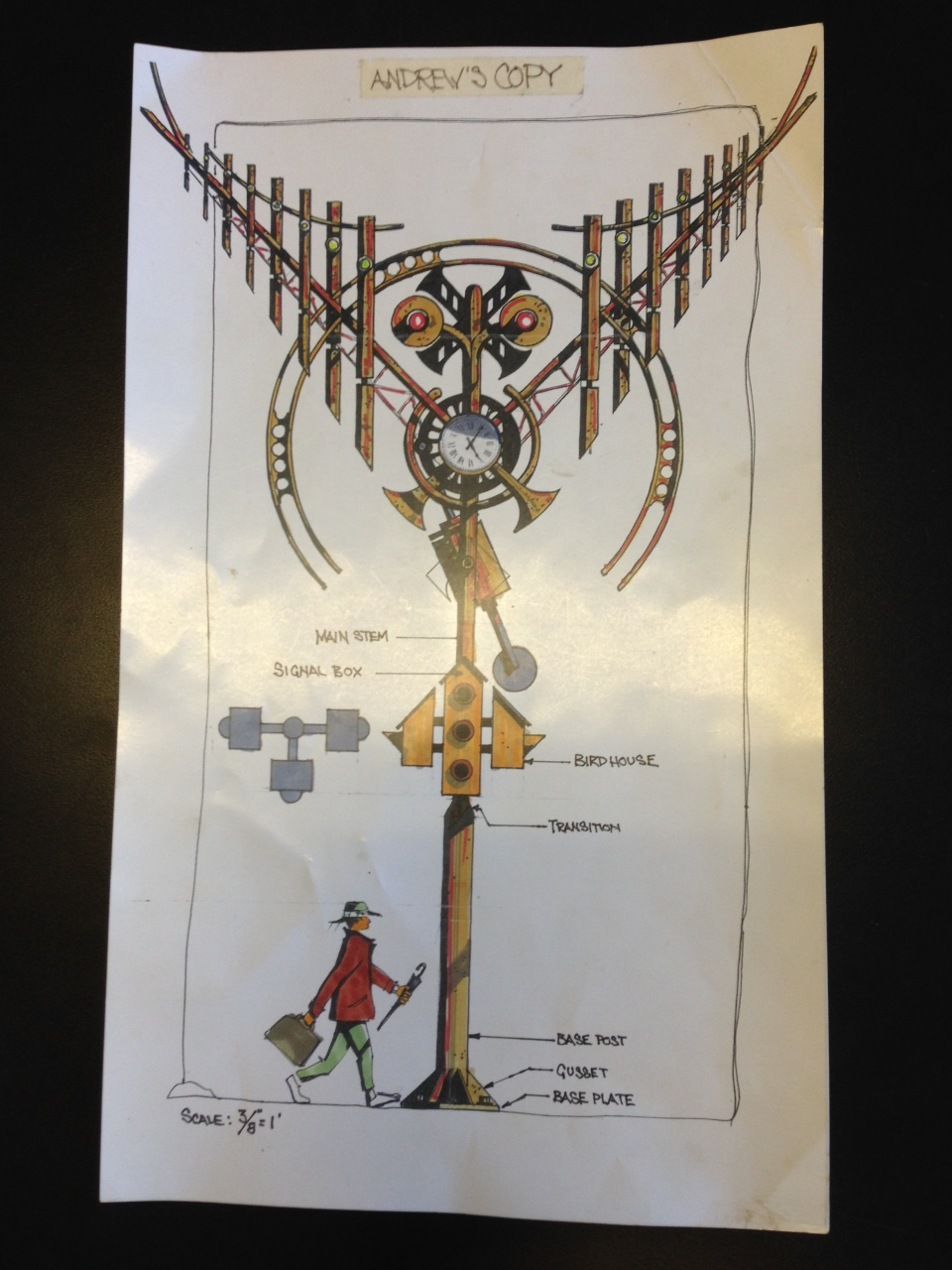 """The blueprint for a 34-foot high """"spirit clock""""  being designed by the same artist who designed the original Spirit Catcher. (K.C. Colby / CTV Barrie)"""