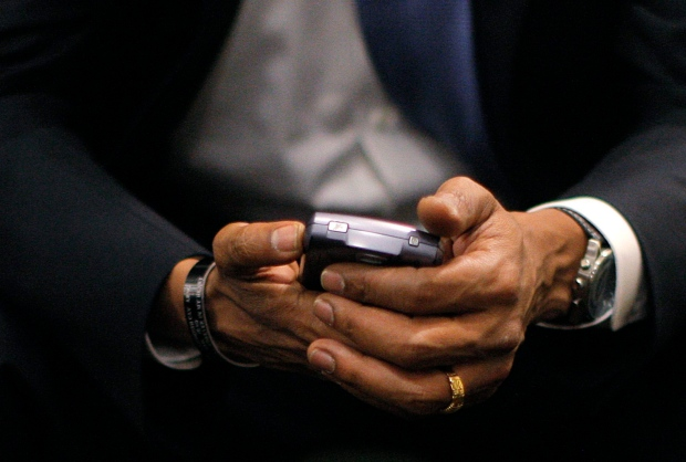 Barack Obama with BlackBerry