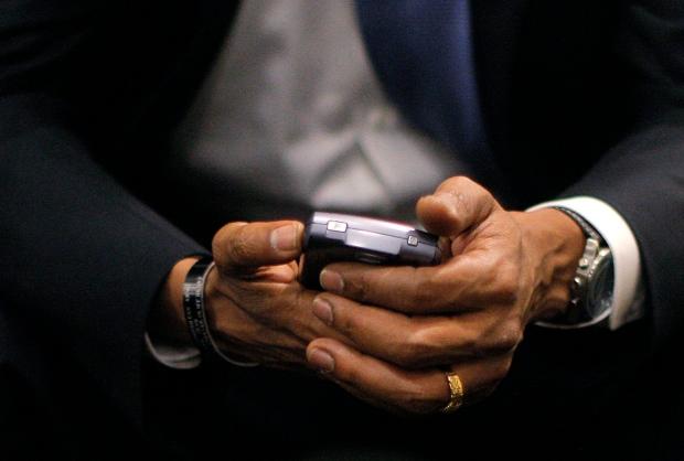 Barack Obama with BlackBerry