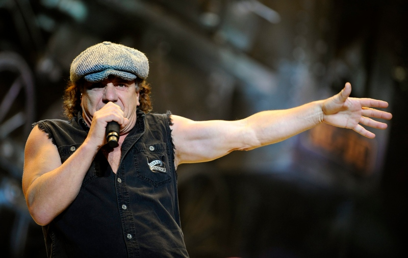 In this Nov. 12, 2008 file photo, AC/DC lead singer Brian Johnson performs on the Black Ice tour at Madison Square Garden in New York. (AP / Jeff Zelevansky)