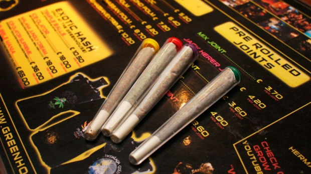 Pre-rolled joints are seen at The Green House coffee shop in Amsterdam, Netherlands, Saturday, June 15, 2008. (AP / Peter Dejong)