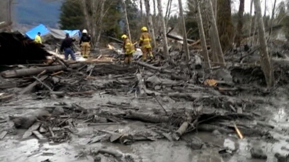 Snohomish County authorities say a massive landslide in Washington state has killed two people, injured six others and destroyed at least six houses.