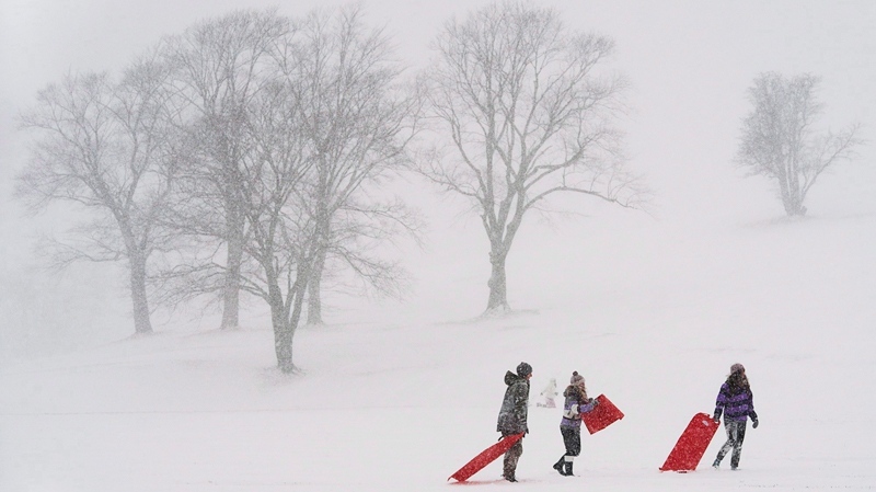 Young people take advantage of school cancellations due to the weather as they slide on Citadel Hill in Halifax on Wednesday, Jan. 22, 2014. (Andrew Vaughan / THE CANADIAN PRESS)