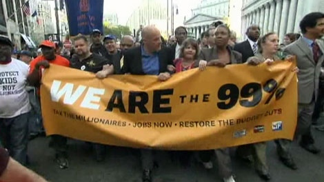 Occupy Wall Street protesters march in New York City.