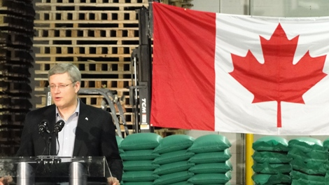 Prime Minister Stephen Harper speaks at a news conference in Regina on Friday.