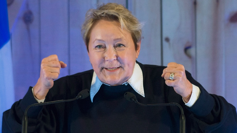 Parti Quebecois leader Pauline Marois speaks to supporters in Sainte-Angele-de-Premont, Sunday, March 23, 2014. (THE CANADIAN PRESS/Graham Hughes)