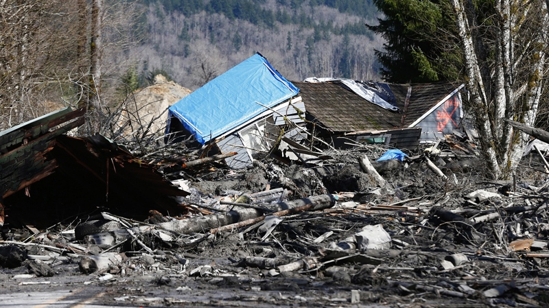 A house is seen destroyed in the mud on Highway 530 next to mile marker 37 on Sunday, March 23, 2014, the day after a giant landslide occurred near mile marker 37 near Oso, Washington. (AP / The Seattle Times, Lindsey Wasson)